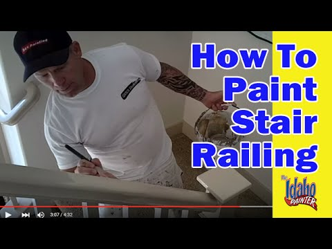 painting a hand rail how to paint stair railing   youtube