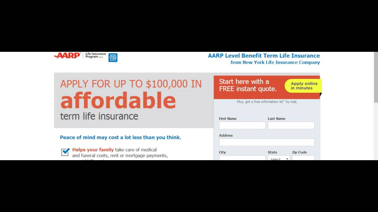 Aarp Life Insurance Quote Aarp Life Insurance  Youtube