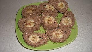 Творожно-шоколадный десерт с бананом по-быстрому
