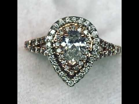 1 CTW Pear Double Halo Engagement Ring * Diamond Exchange Dallas