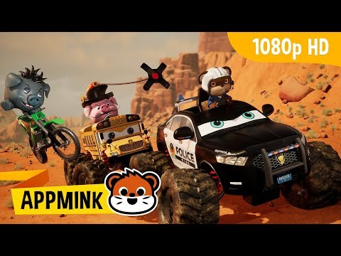 appMink | Desert Canyon Car Chase ft. Police Car, School Bus & Dirt Bike | Kids Show Full Episodes