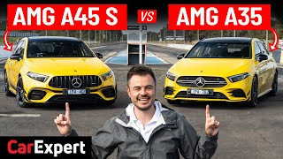 A45 S v A35: Drag race, exhaust comparison, 1/4 mile, brake test & styling review Mercedes-AMG | 4K