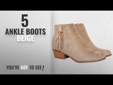 Top 5 Ankle Boots Beige [2018]: Women's Western Inside Zipper Stacked Heel Ankle Booties (6.5,