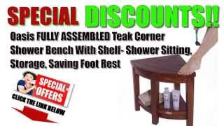 [decoteak Best Offers] Oasis Fully Assembled Teak Corner Shower Bench Best Buy/discounts