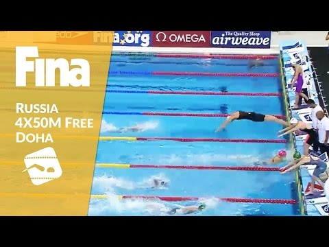 5x50m Freestyle - Gold for Team Russia! #6 Doha