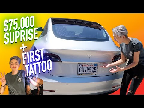 I GOT A TESLA AND MY FIRST TATTOO EVER! (Birthday Vlog)