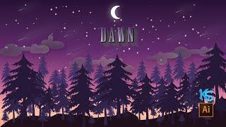 Adobe Illustrator Tutorial create Dawn Landscape screenshot 4