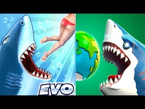 Hungry Shark World  VS Hungry Shark Evolution - ALL SHARKS UNLOCKED 2020 FHD