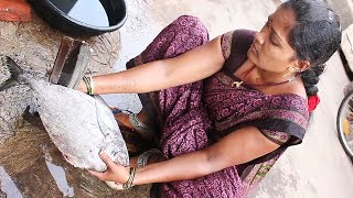 village aunty Fish Cutting & Fish Cutting || Myna Tasty Food