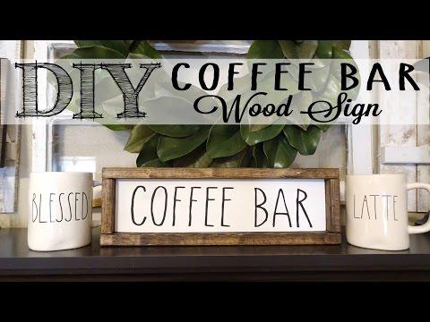 DIY Coffee Bar Wood Sign