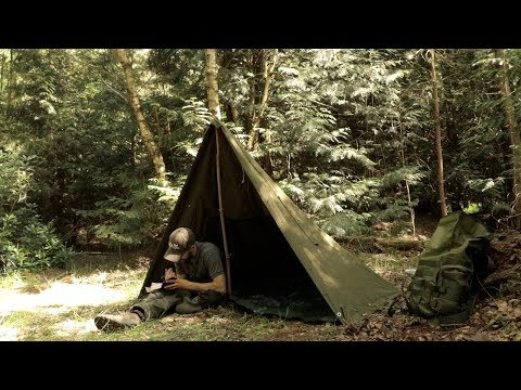 Bushcraft Day Camp in the Woods with a Canvas Poncho Tent