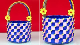 DIY Project | Weave Plastic Basket from Plastic Bottle | Best out of waste plastic bottle basket