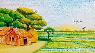 How to draw scenery of sunrise with pastel colour/sujola sufola  Banglades
