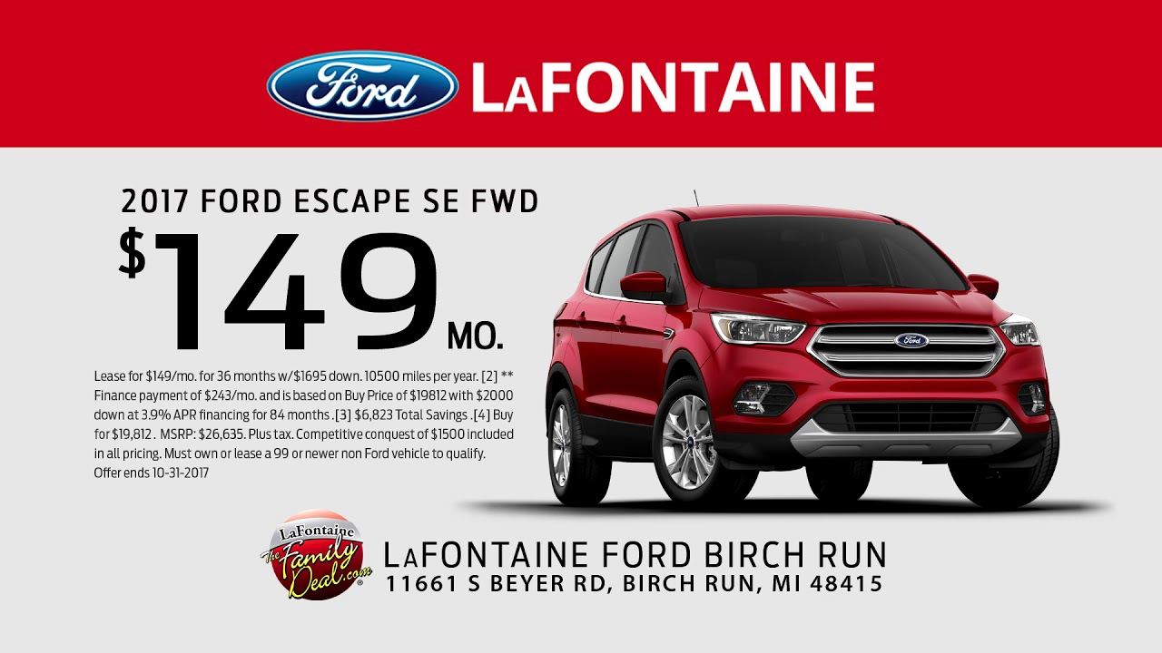 Ford Escape Lease Deals >> Lafontaine Ford Birch Run Family Deal Of The Month Lease A 2017 Ford Escape Se Fwd 149 Per Month