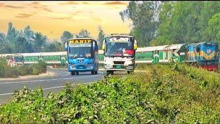 Non stop Banalata express train with Hanif Paribahan || Road side RailLine