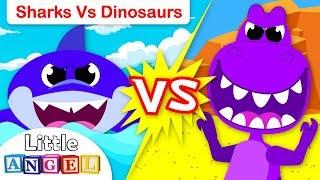Sharks vs. Dinosaurs | Kids Songs & Nursery Rhymes by Little Angel