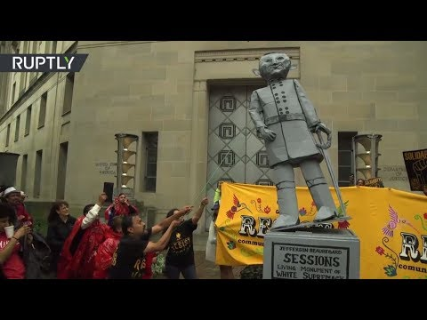 Protesters tear down mock statue of Jeff Sessions over DACA scrapping in front of DOJ