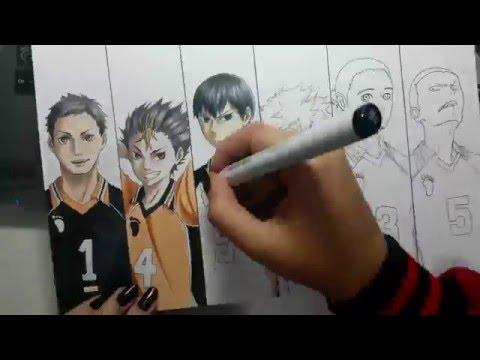 Speed Drawing - Karasuno Team (Haikyuu!)