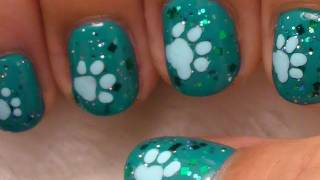 Cute and Simple Nail Art on Short Nails - Dog Paws