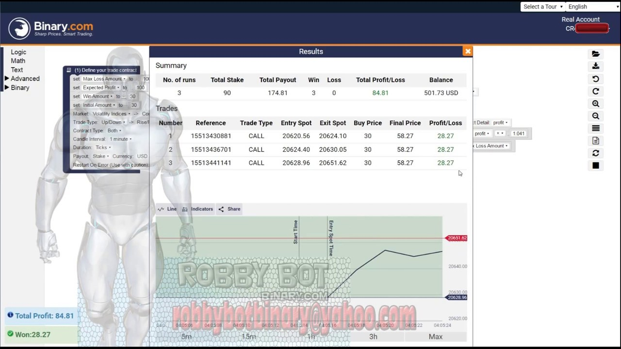 Start with binary option robot settings