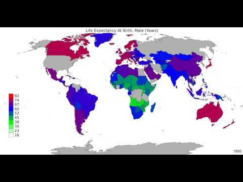 World - Life Expectancy At Birth, Male - Timelapse