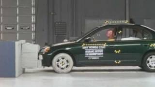 2001 Honda Civic 4-door moderate overlap IIHS crash test