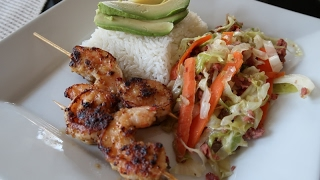 COOK WITH ME: SKEWERED SHRIMP WITH CABBAGE & RICE/ BARBECUE CHICKEN