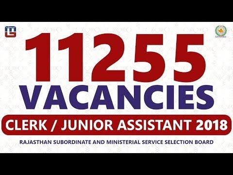RSMSSB Recruitment 2018 For Clerk & Junior Assistant | 11255 Vacancies