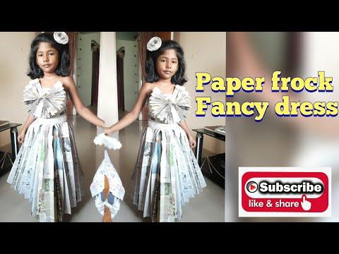 Paper frock for fancy dress competition..#fancy#dress#newspaper#easy