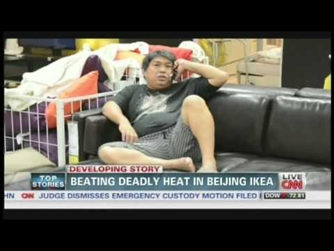 Beating deadly heat in Beijing Ikea (August 9, 2013)