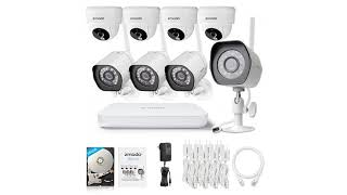 Zmodo Wireless Security Camera System (4 pack) Smart HD Outdoor WiFi IP Cameras with Ni...