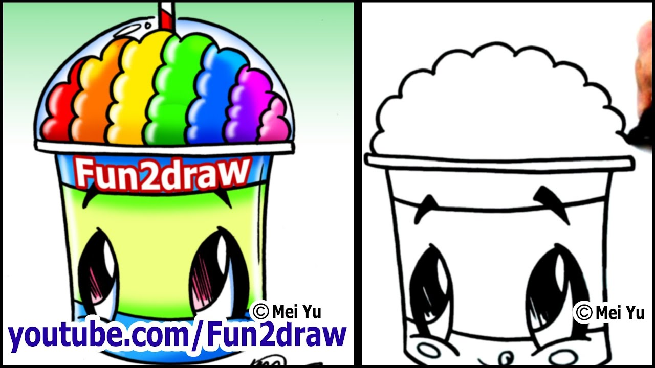 Fun2draw Mustache Draw A Cartoon Slushie With Rainbow Brain
