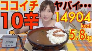 【MUKBANG】 [Sad News] Ichibanya's Curry [LEVEL 10] IS So Spicy To Eat..! [5.8kg] 14904kcal [Use CC]