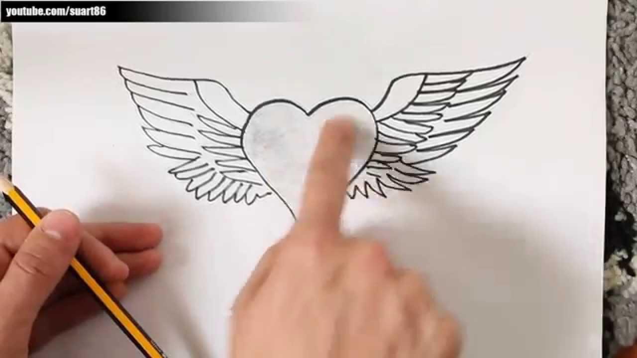 Como dibujar un corazon con alas - YouTube