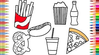 How to Draw Kit of Fast Food | Coloring Set: Hot dog,  Fries, Pizza, Drinks and pretcil