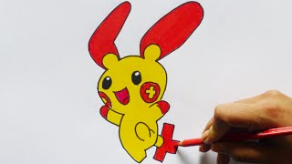 Dibujando y pintando a Plusle (pokemon) - Drawing and painting to Plusle