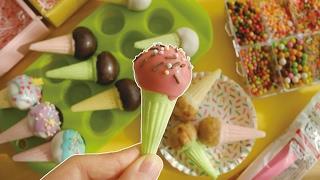 Ice cream cake pop【駄菓子】アイス風ケーキポップ作り方【量産向】
