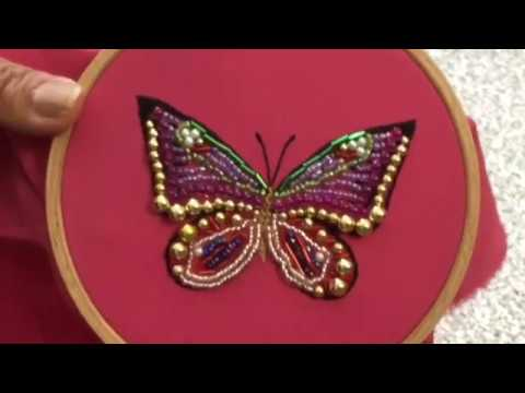 Butterfly Hand Embroidery easy stitch how to make with Beads. Stitch