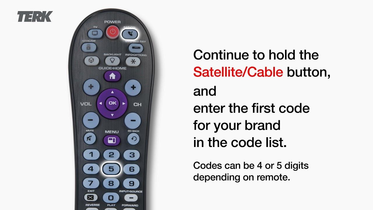 Terk Satellite TV Remote Control Direct Code Programming