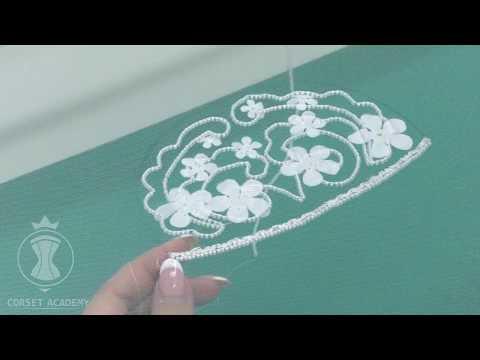 Тамбурная вышивка на рукаве свадебного платья