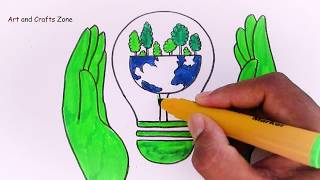 Save Energy and Save Earth Poster tutorial for kids    Save Earth, Save Environment drawing