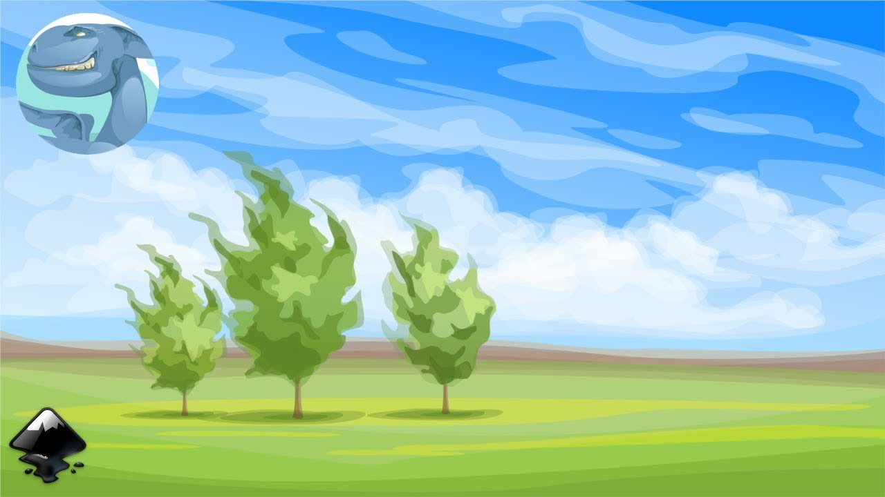 simple landscape trees inkscape