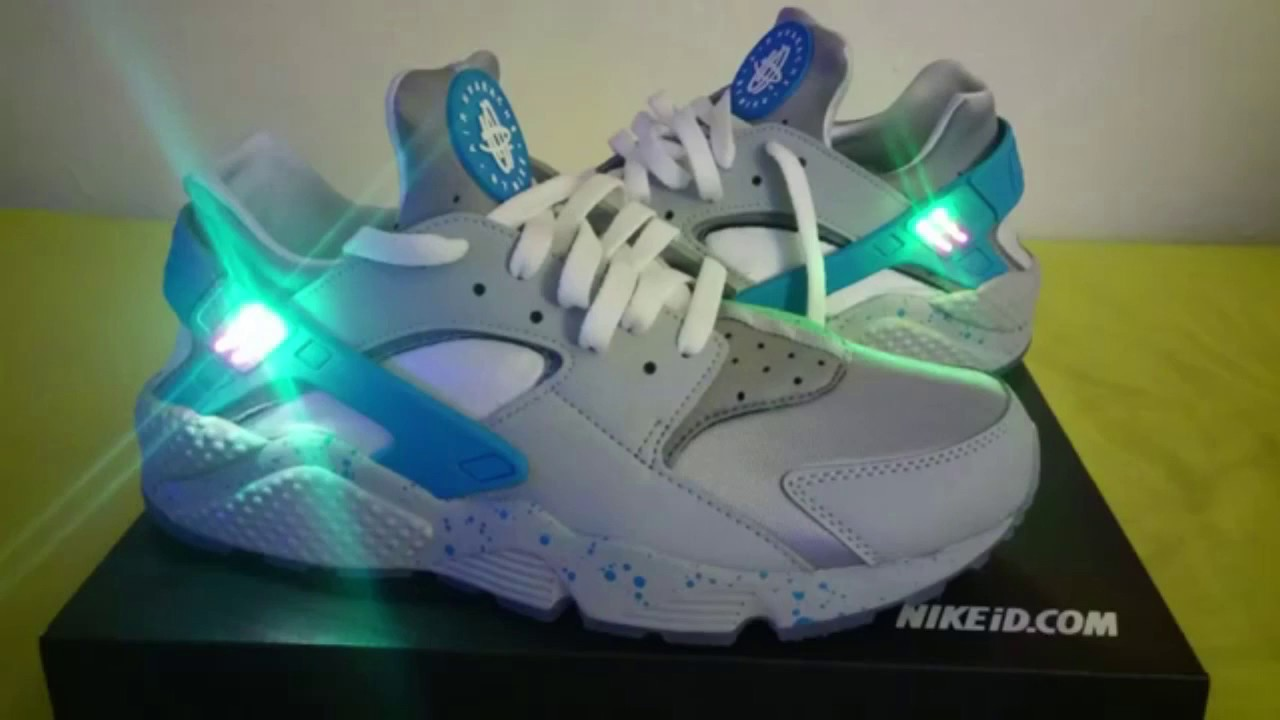 830fb77b0d15 Nike Air Huarache Run (NIKEID) (Nike Mag LED Customs) - YouTube