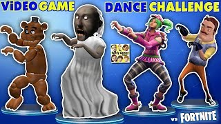 GRANNY vs BENDY vs HELLO NEIGHBOR vs FORTNITE vs FNAF vs ROBLOX CRAZY VIDEO GAME DANCE CHALLENGE