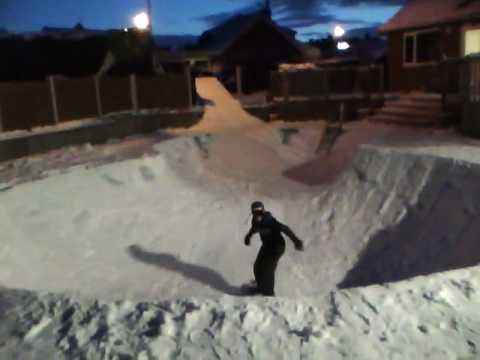 Backyard snowboarding with Jacob Roberts