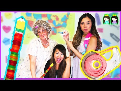 DIY Edible School Supplies at Toy School! Funny Tricks for Back to School with Princess ToysReview