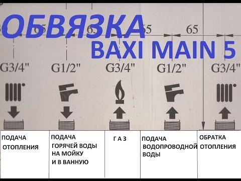 СХЕМА ОБВЯЗКИ (ПОДКЛЮЧЕНИЯ) BAXI MAIN 5