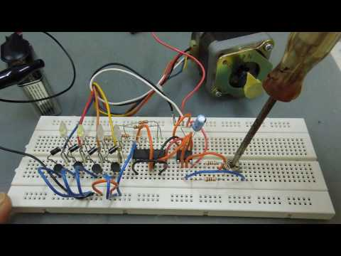 Run A Unipolar Stepper Motor With Simple Decade Counter 4017 And 555 Timer.