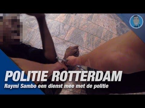 POLITIE ROTTERDAM. Raymi Sambo een dienst mee op straat. Aanhouding VERDACHTE MISHANDELING.