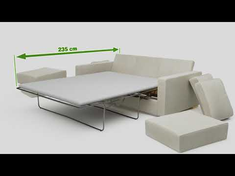 3 Seat Double Sofa Bed Animation